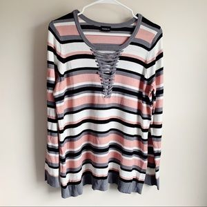 Torrid Striped Lace Up Front Long Sleeve Blouse